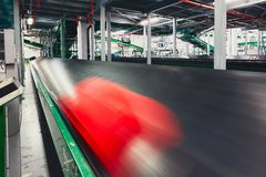 Baggage on conveyor belt Stock Photo