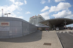 Baggage drop off cruise ship terminal Stock Photo