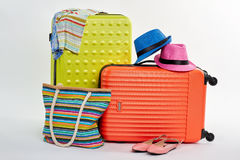 Baggage for family summer rest. Royalty Free Stock Photography