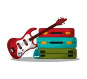 Baggage and guitar to travel design Royalty Free Stock Images