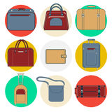 Baggage Icons. Luggage Icons Set. Bags and Suitcases Stock Photography