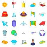 Baggage icons set, cartoon style. Baggage icons set. Cartoon set of 25 baggage icons for web isolated on white background Stock Image