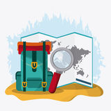 Baggage and implements icon. Time to travel design. Vector graph Stock Photo