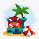 Baggage and implements icon. Time to travel design. Vector graph Stock Image