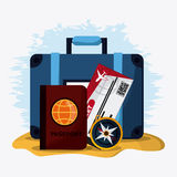 Baggage and implements icon. Time to travel design. Vector graph Stock Photography