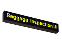 Baggage Inspection Sign on White Background royalty free stock photography