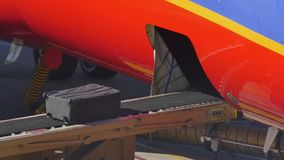 Baggage is Loaded on a Conveyor Belt onto a Jet. Baggage handlers load luggage and cargo under a jet before departure stock footage