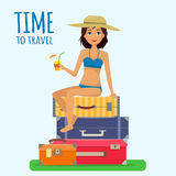 Baggage, luggage, suitcases and girl in swimsuit with cocktail on tropical background. Stock Photography