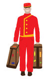 Baggage man. A smiling baggage man, carrying luggage Royalty Free Stock Photo