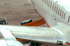 Baggage in plane. Loading baggage in the plane Royalty Free Stock Photography