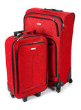 Baggage: Red Suitcase And Carry On  on White Royalty Free Stock Images