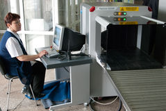 Baggage scanning at airport Stock Photography