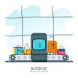 Baggage security checkpoint in airport terminal. Vector hand drawn illustration. Stock Image