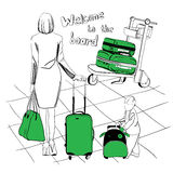 Baggage set for airport. Vector illustration of baggage set for airport. Logos design. Diferent suitcases Stock Photo