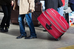 With baggage at the station Stock Photography