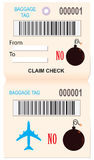 Baggage ticket reminder ban explosives Stock Images