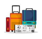 Baggage and ticket to travel design Royalty Free Stock Images
