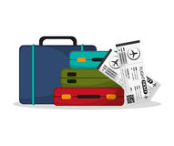 Baggage and ticket to travel design Royalty Free Stock Photo