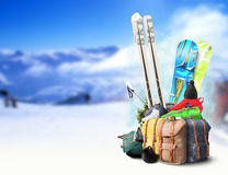 Baggage tourist ski Stock Images