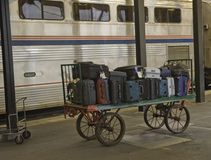 Baggage on the Train Station Platform Royalty Free Stock Images
