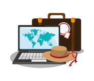Baggage of travel and tourism  concept. Baggage hat and laptop icon. travel trip vacation and tourism theme. Colorful design. Vector illustration Royalty Free Stock Photos