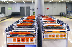 Baggage Trolley Line Up at Beijing Capital Airport PEK Termina Royalty Free Stock Photography