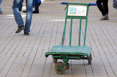 Baggage trolley on Moscow railway station Stock Photo