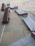 Baggage trolleys. Airport baggage handler's equipment Royalty Free Stock Images