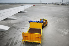 Baggage trolleys. Freight trolleys on the runway Royalty Free Stock Image