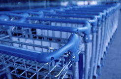 Baggage Trollies in row Stock Photography