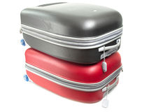 Baggages. Red and grey baggages isolated on white background Royalty Free Stock Image