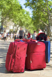 Baggages at Las Ramblas in Barcelona, Spain Royalty Free Stock Photography