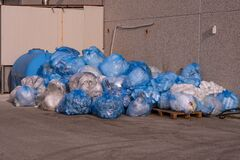 Free Bagged Industrial Plastic Waste Royalty Free Stock Photos - 201829128