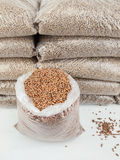Bagged wood pellets in storage Royalty Free Stock Image