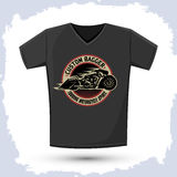Bagger Motorcycle badge Graphic T- shirt design Stock Photography