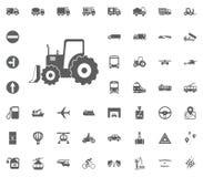 Baggerikone Gesetzte Ikonen des Transportes und der Logistik Gesetzte Ikonen des Transportes Stockfotografie