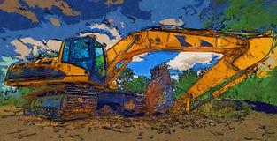 Baggerillustrationsfarbkunstdesign-Zusammenfassungszeichnung Stockfoto