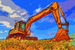 Baggerillustrationsfarbkunstdesign-Zusammenfassungszeichnung Stockfotos