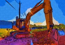 Baggerillustrationsfarbkunstdesign-Zusammenfassungszeichnung Lizenzfreies Stockbild