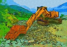 Baggerillustrationsfarbkunstdesign-Zusammenfassungszeichnung Stockbild