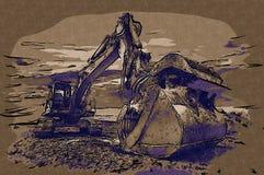 Baggerillustrationsfarbkunstdesign-Zusammenfassungszeichnung Lizenzfreie Stockfotos