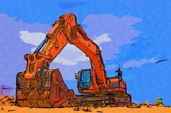 Baggerillustrationsfarbkunstdesign-Zusammenfassungszeichnung Lizenzfreie Stockfotografie
