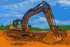 Baggerillustrationsfarbkunstdesign-Zusammenfassungszeichnung Stockfotografie