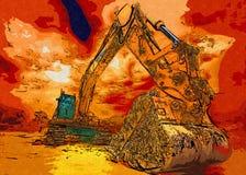 Baggerillustrationsfarbkunstdesign-Zusammenfassungszeichnung Stockbilder