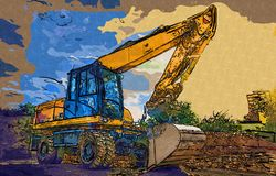 Baggerillustrationsfarbkunstdesign-Zusammenfassungszeichnung Lizenzfreies Stockfoto