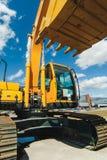 Baggerladermaschine Seitenansicht von Front Hoe Loader Industrielles Fahrzeug Schwere Ausrüstungs-Maschine Pneumatischer LKW Cons Stockfotografie