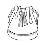 baggies Modetillbehör Svartvit illustration för färgläggningbok stock illustrationer