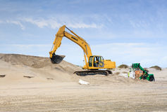 Bagging Sand Hurricane Preparation Hatteras NC Stock Photos