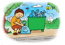 Bagging trash. Children who put the trash bag for clean environment Royalty Free Stock Photography