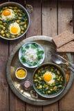 Baghali ghatogh - Iranian dish made with bean, dill, and Eggs. Baghali ghatogh - Iranian dish made with bean, dill, and Eggs Stock Photo